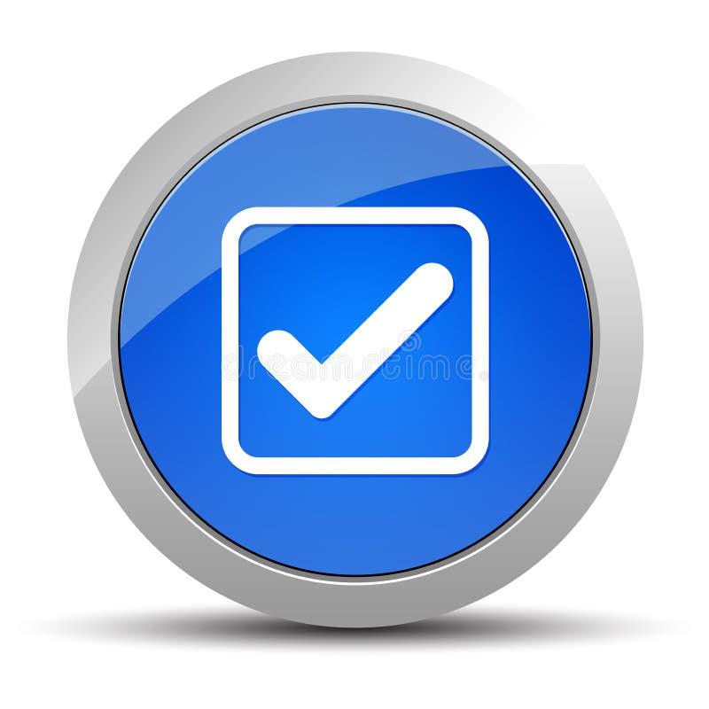 Ejemplo redondo azul del bot?n del icono de la caja de control stock de ilustración
