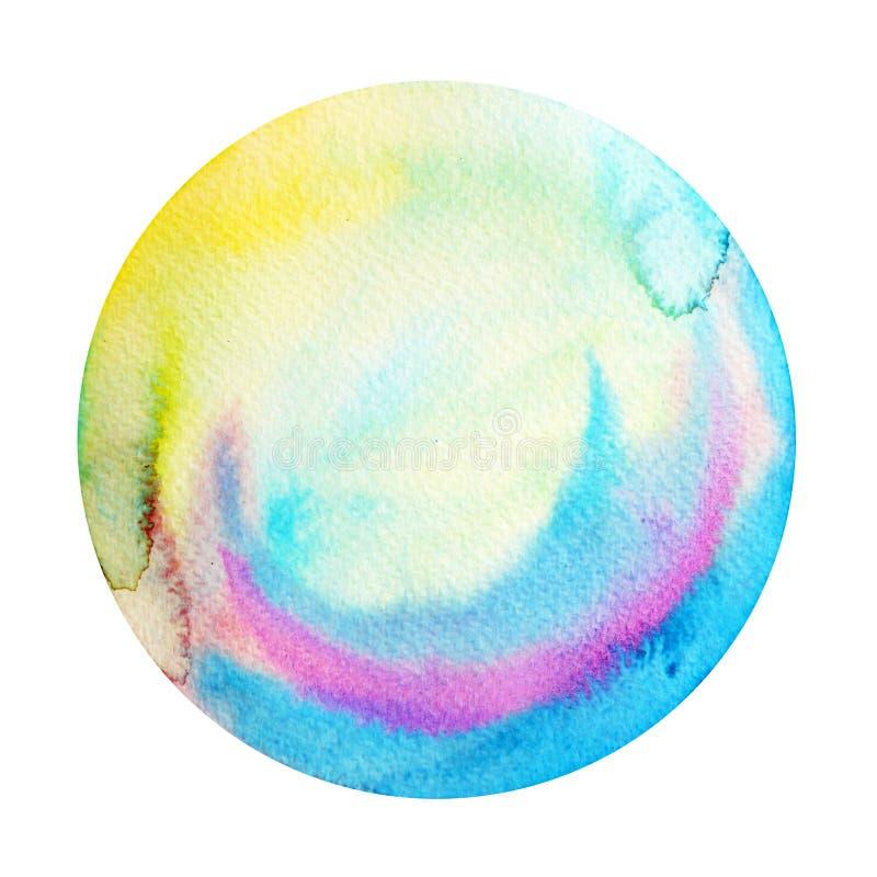 Ejemplo redondo azul grande de la pintura de la acuarela del círculo de la Luna Llena fotos de archivo