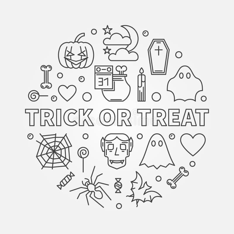 Ejemplo redondo de Halloween del vector del esquema del truco o de la invitación libre illustration