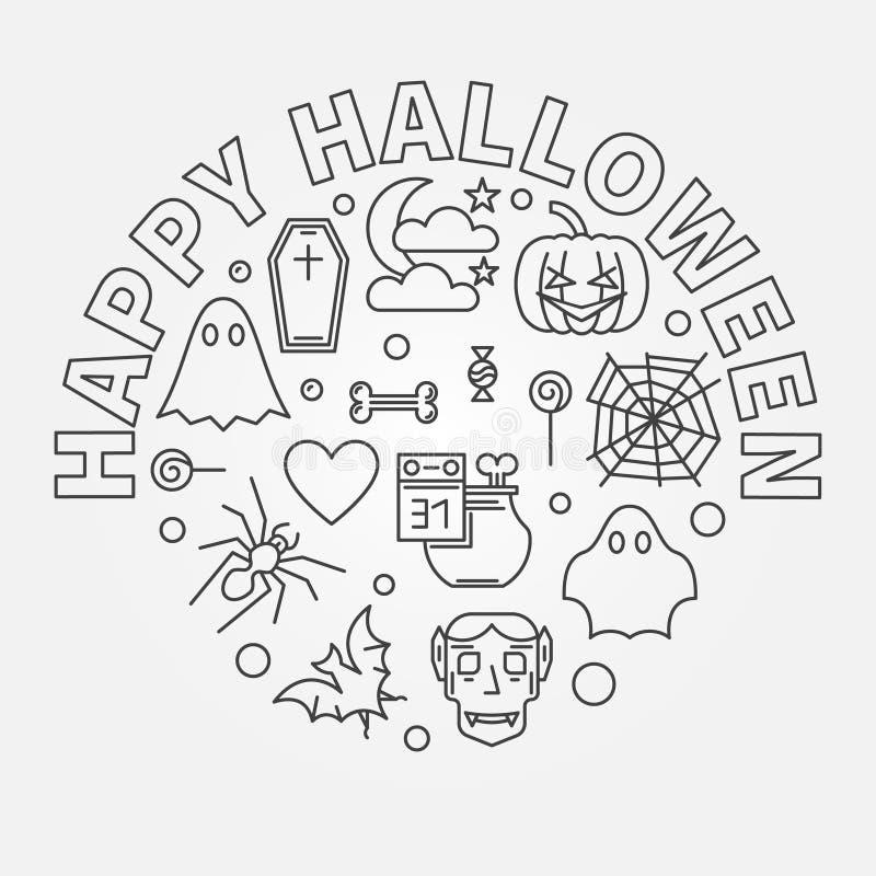 Ejemplo redondo del esquema del día de fiesta del vector del feliz Halloween stock de ilustración