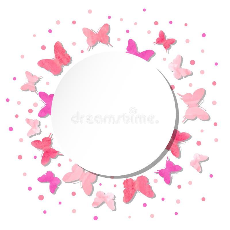 Ejemplo redondo del vector con las mariposas del rosa de la acuarela libre illustration