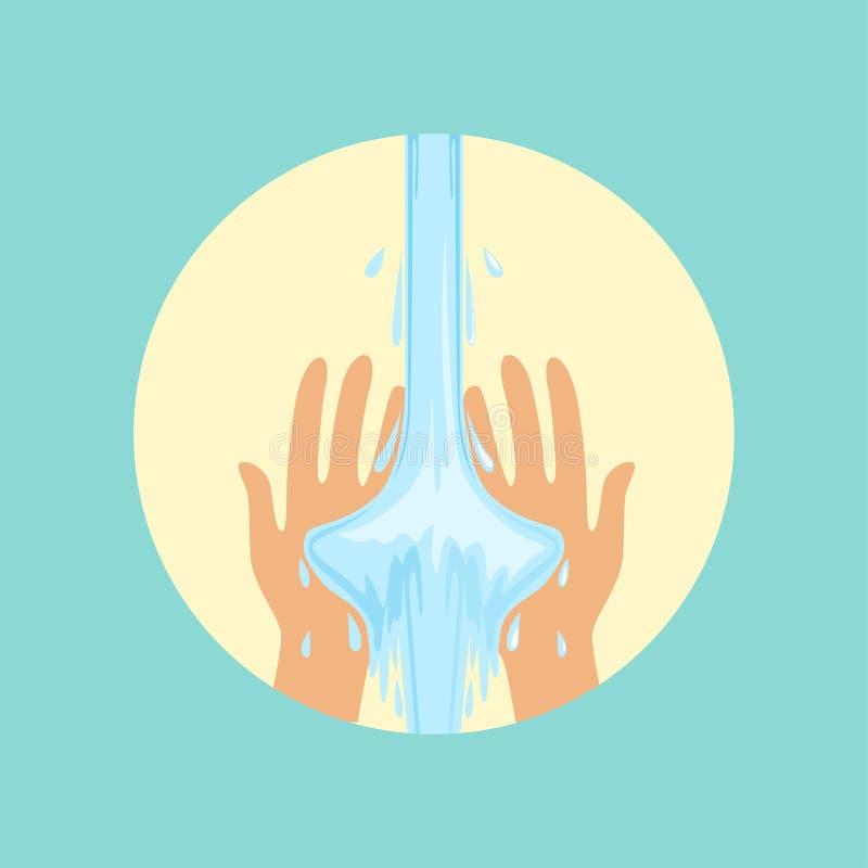 Ejemplo redondo del vector de las manos que se lava ilustración del vector