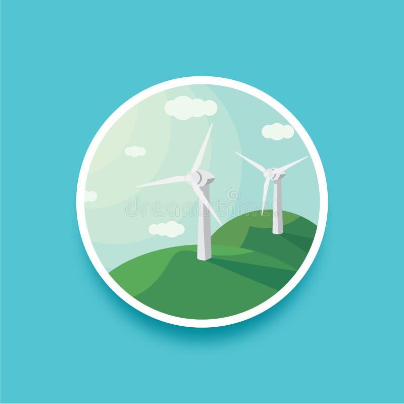 Ejemplo redondo del vector del paisaje de los generadores de viento Energía eólica del paisaje ilustración del vector