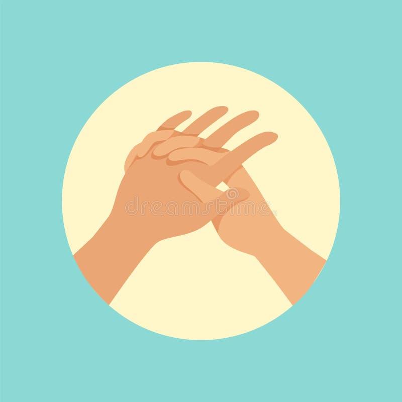 Ejemplo redondo del vector del procedimiento de las manos que se lava stock de ilustración