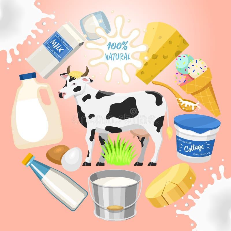 Ejemplo redondo del vector del modelo del concepto fresco de los productos l?cteos Org?nico, comida de la calidad Gran gusto y va libre illustration