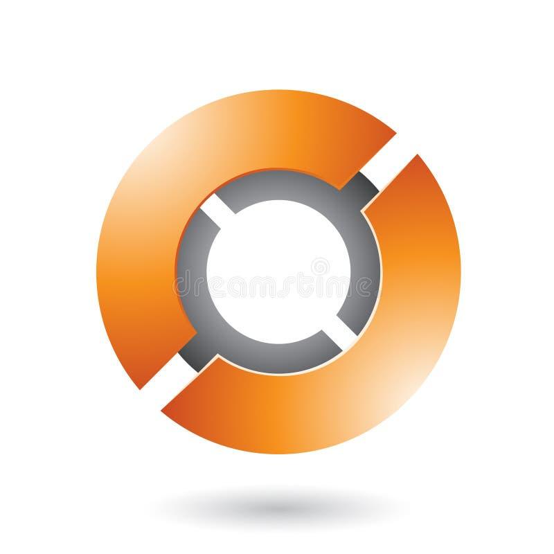 Ejemplo redondo futurista grueso anaranjado del vector del disco ilustración del vector
