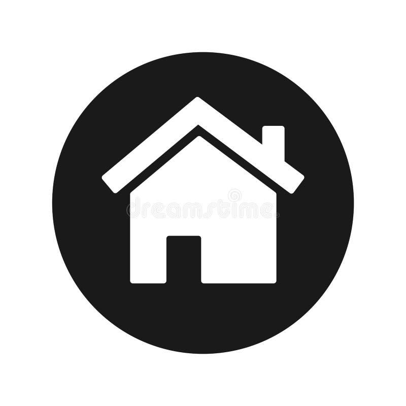 Ejemplo redondo negro plano del vector del botón del icono casero stock de ilustración