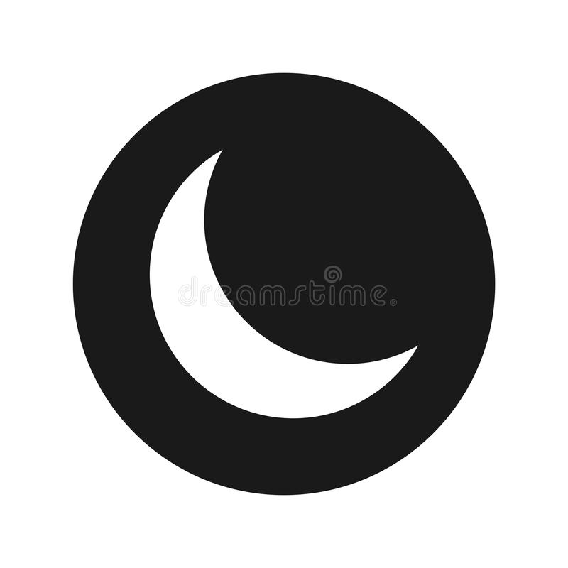 Ejemplo redondo negro plano del vector del botón del icono creciente de la media luna libre illustration