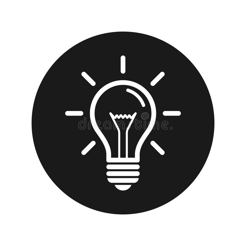 Ejemplo redondo negro plano del vector del botón del icono de la bombilla ilustración del vector