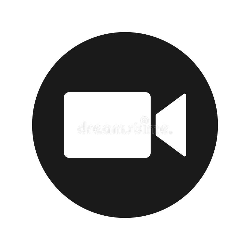 Ejemplo redondo negro plano del vector del botón del icono de la cámara de vídeo imagenes de archivo
