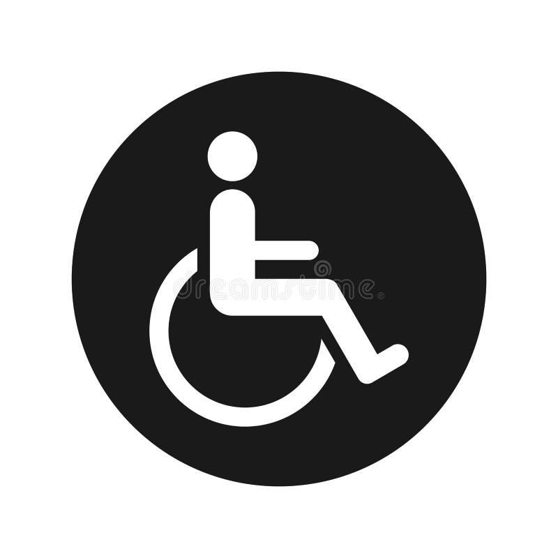 Ejemplo redondo negro plano del vector del botón del icono de la desventaja de la silla de ruedas fotos de archivo