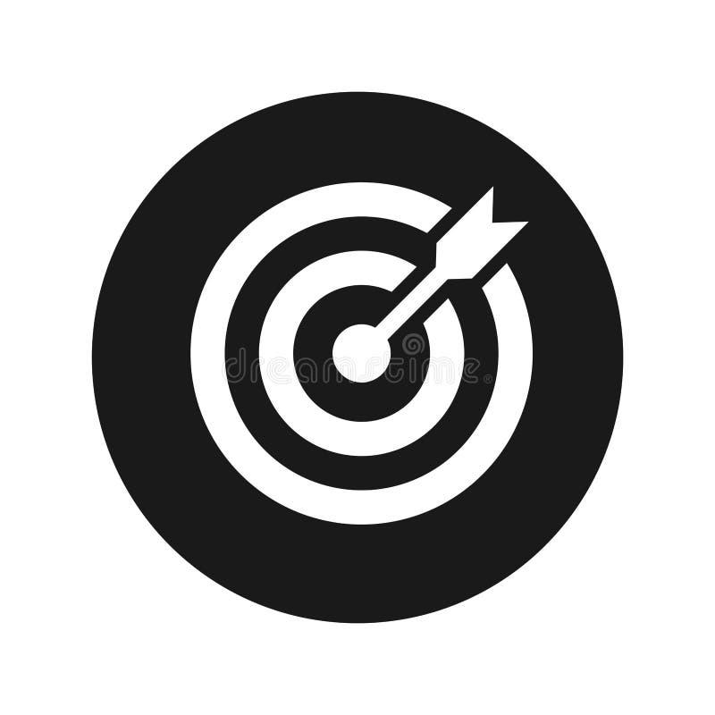 Ejemplo redondo negro plano del vector del botón del icono de la flecha de la blanco ilustración del vector
