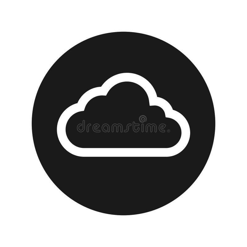 Ejemplo redondo negro plano del vector del botón del icono de la nube ilustración del vector