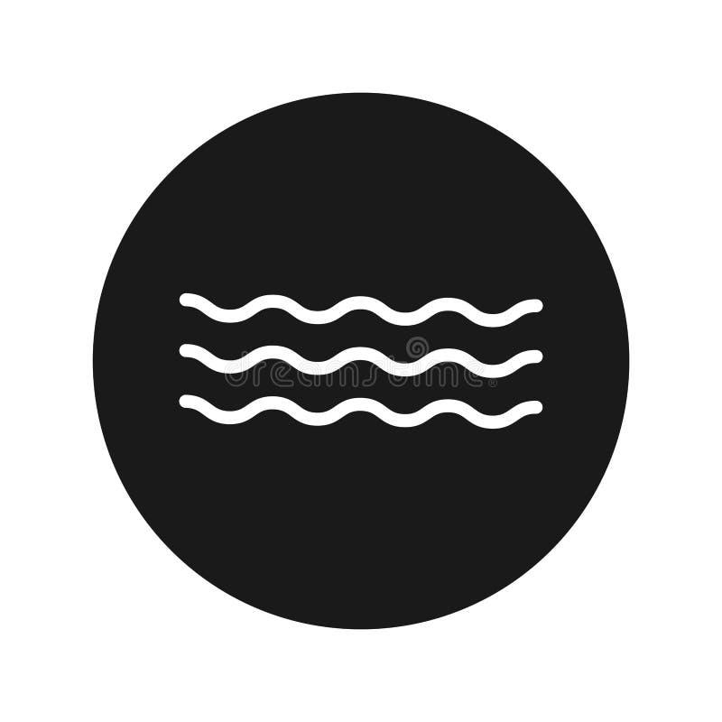 Ejemplo redondo negro plano del vector del botón del icono de las ondas del mar fotos de archivo