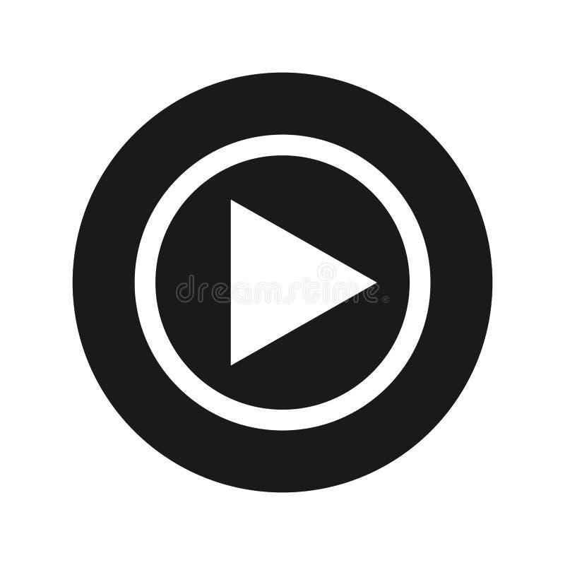 Ejemplo redondo negro plano del vector del botón del icono del juego foto de archivo libre de regalías