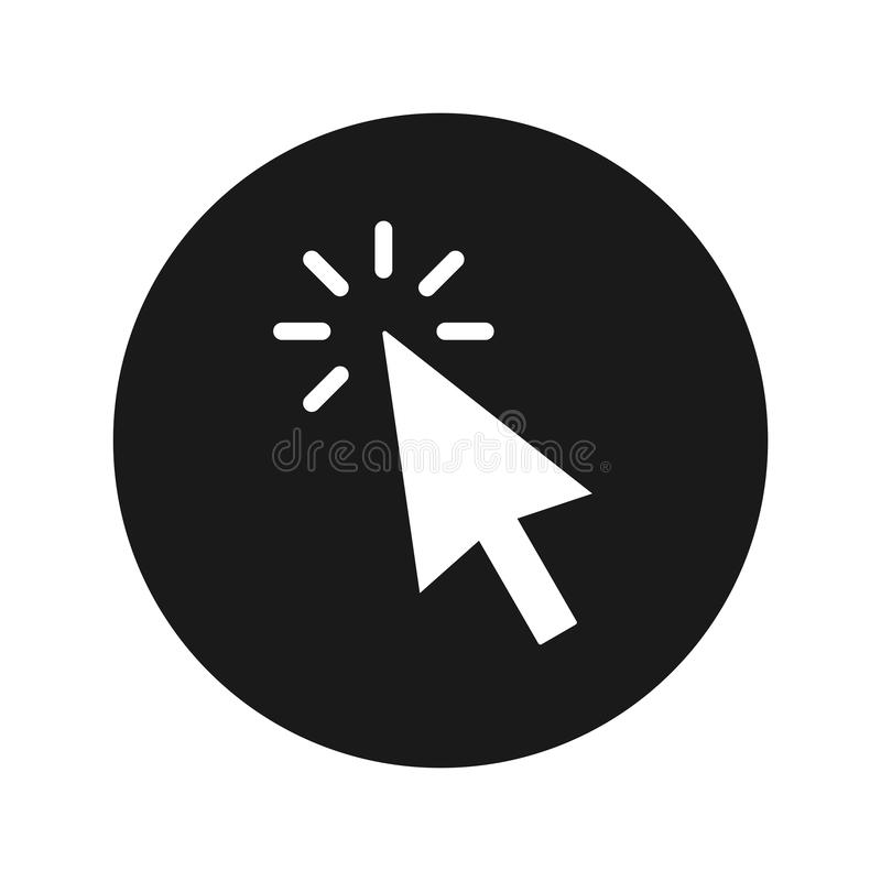 Ejemplo redondo negro plano del vector del botón del icono del tecleo del cursor ilustración del vector