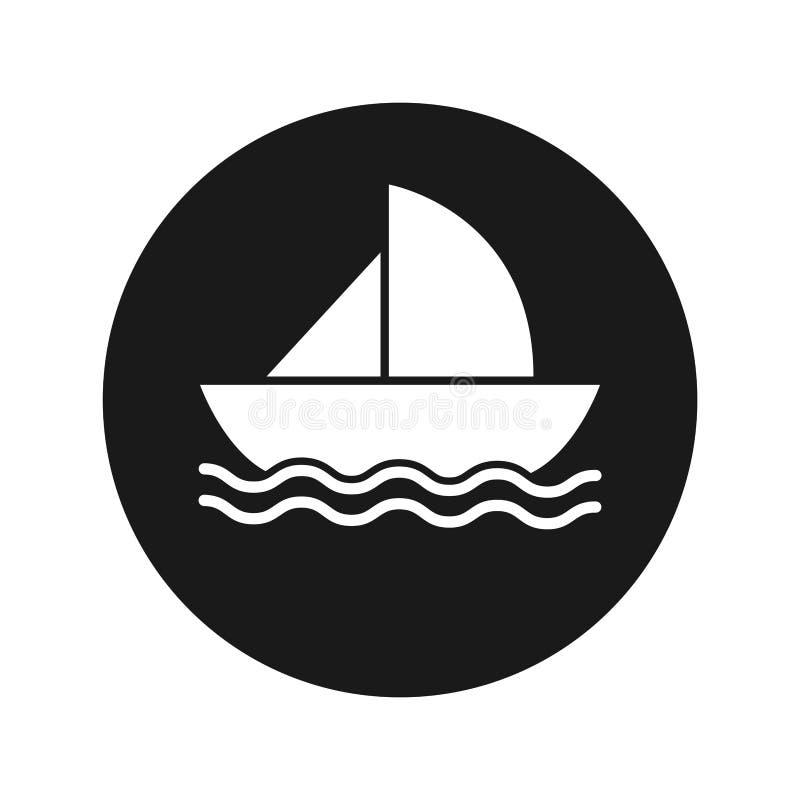 Ejemplo redondo negro plano del vector del botón del icono del velero stock de ilustración
