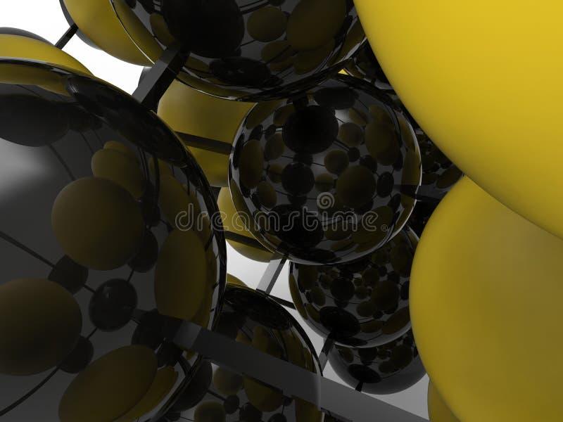 Ejemplo reflexivo de la estructura 3D de la microbiología stock de ilustración