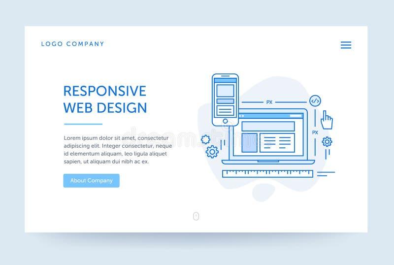 Ejemplo responsivo del diseño Bandera del Web Línea estilo plana azul Concepto del Home Page Maqueta del diseño de UI ilustración del vector