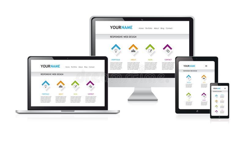 Ejemplo responsivo del vector del diseño web, sitio web moderno blanco stock de ilustración