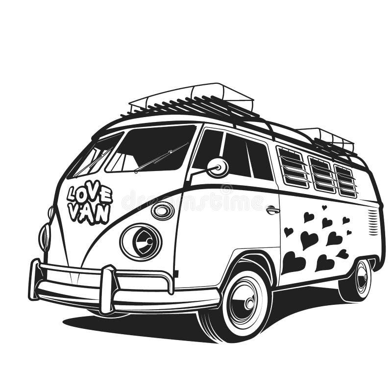 Ejemplo retro de Van vector del viaje del amor de la paz del coche ilustración del vector