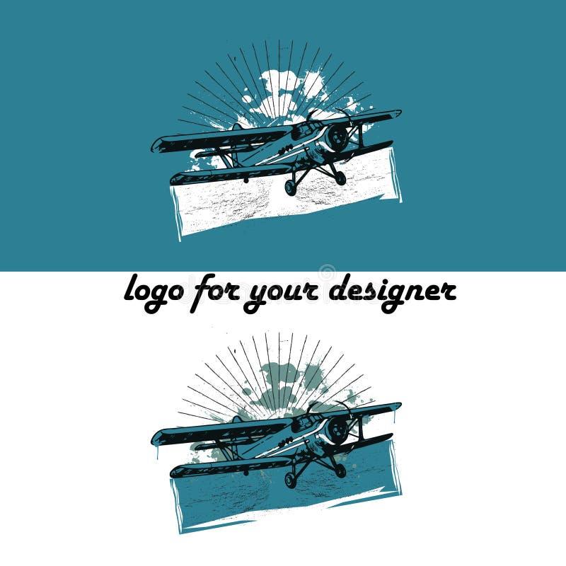 Ejemplo retro del biplano stock de ilustración