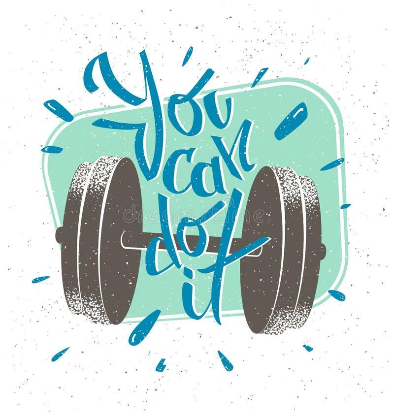 Ejemplo retro del estilo del mensaje de motivación Usted puede hacerlo stock de ilustración