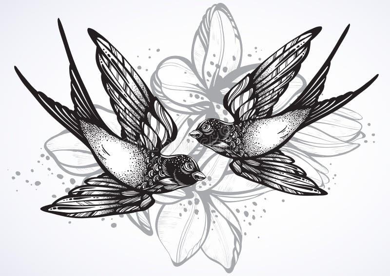 Ejemplo retro del estilo del vintage hermoso de dos pájaros del trago que vuelan Ilustraciones exhaustas del vector de la mano ai stock de ilustración