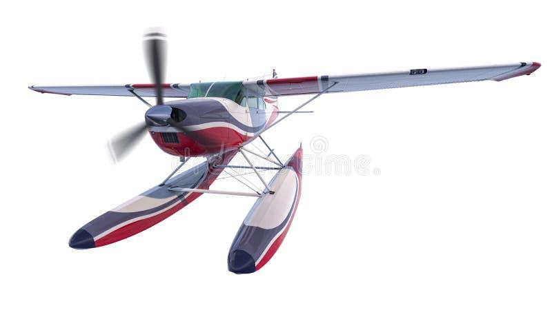 Ejemplo retro del hidroavión 3d rinden El propulsor está girando y empañado libre illustration