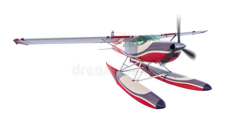 Ejemplo retro del hidroavión 3d rinden El propulsor está girando y empañado ilustración del vector