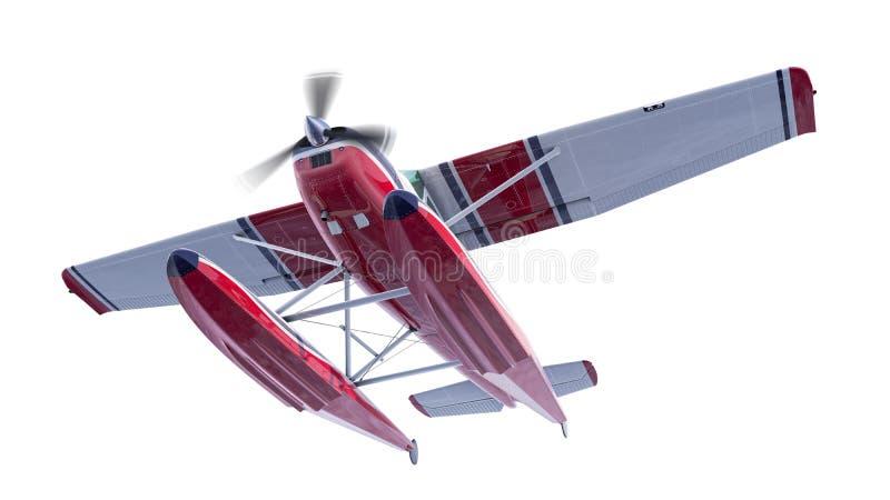 Ejemplo retro del hidroavión 3d rinden El propulsor está girando y empañado stock de ilustración