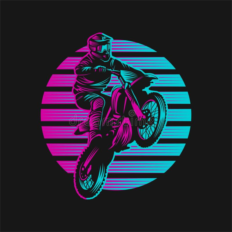 Ejemplo retro del vector de la puesta del sol del motocrós libre illustration