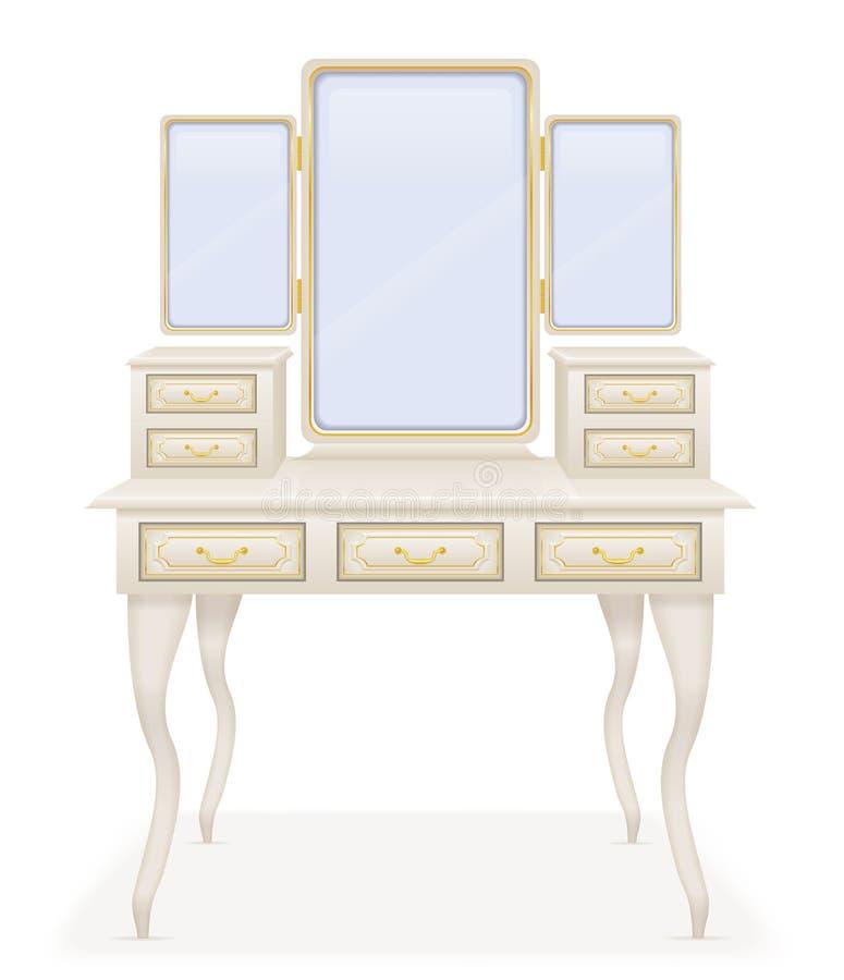 Ejemplo retro del vector de los muebles de la tabla de la vanidad viejo ilustración del vector