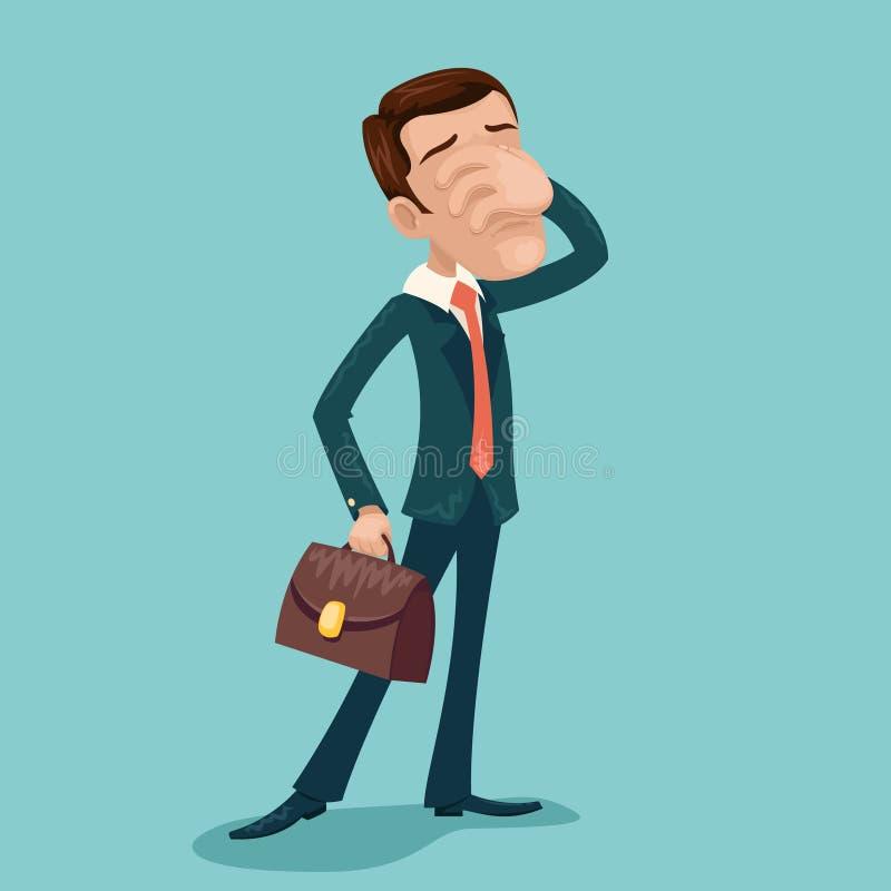 Ejemplo retro del vector del diseño de la historieta de Cartoon Character Icon del hombre de negocios de Facepalm de la frustraci libre illustration