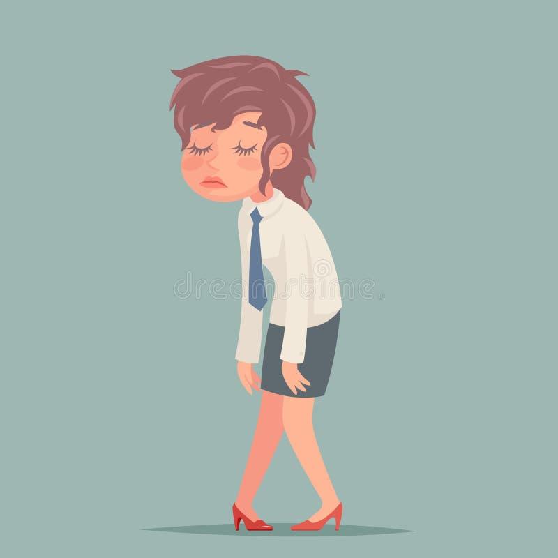 Ejemplo retro del vector del diseño de la historieta de la empresaria del carácter cansado triste desaliñado cansado de la mujer stock de ilustración