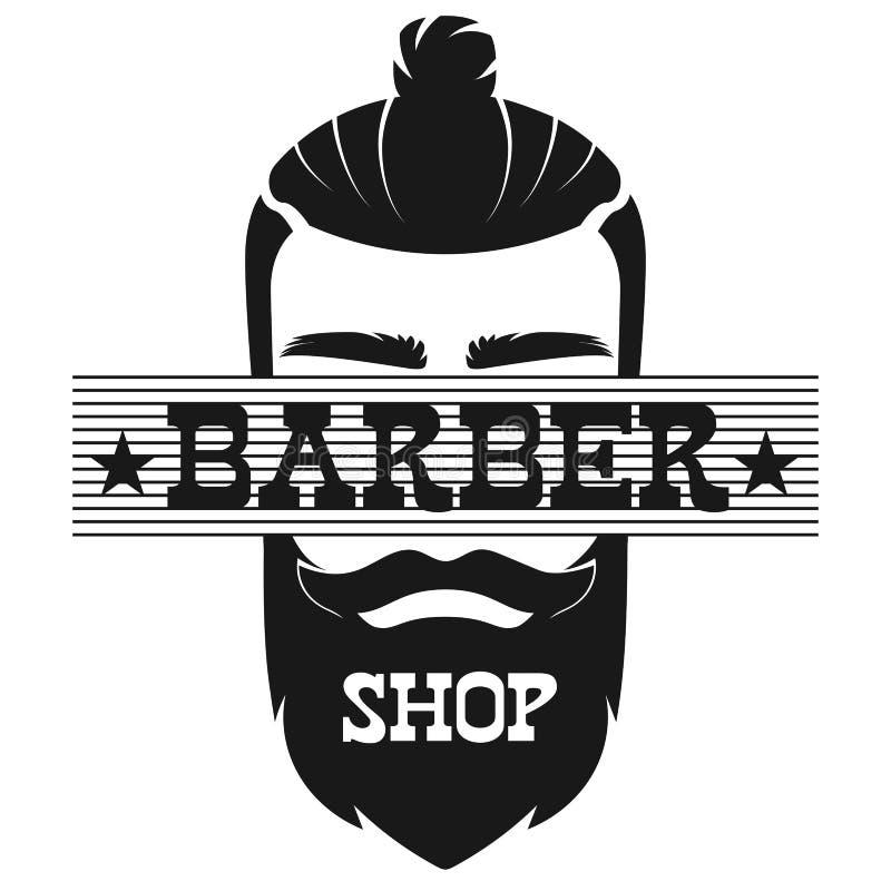 Ejemplo retro del vector del logotipo de la etiqueta del vintage de la cara barbuda del hombre de Barber Shop stock de ilustración