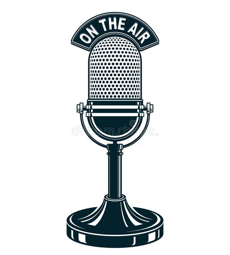 Ejemplo retro del vector del micrófono del estudio Difusión de radio ilustración del vector