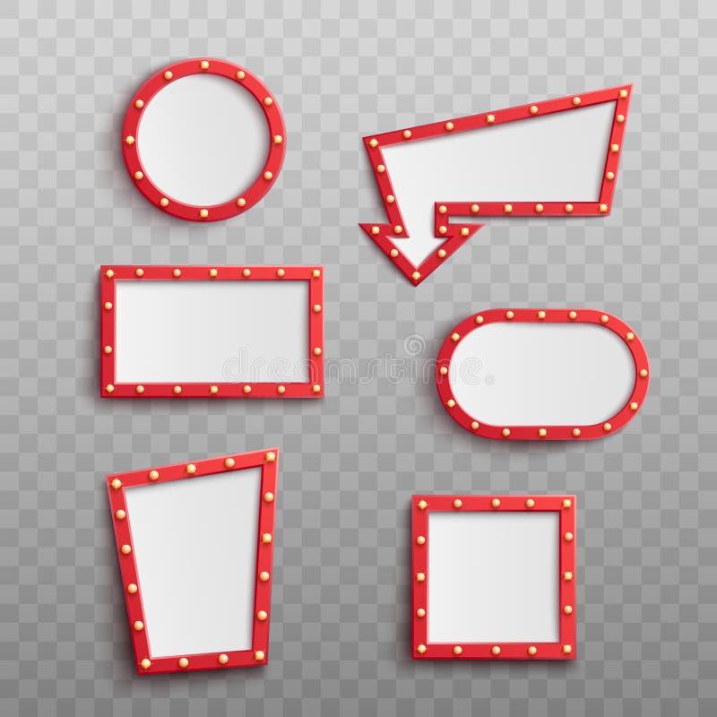 Ejemplo retro del vector del sistema de los marcos de los bulbos eléctricos aislado en transparente stock de ilustración