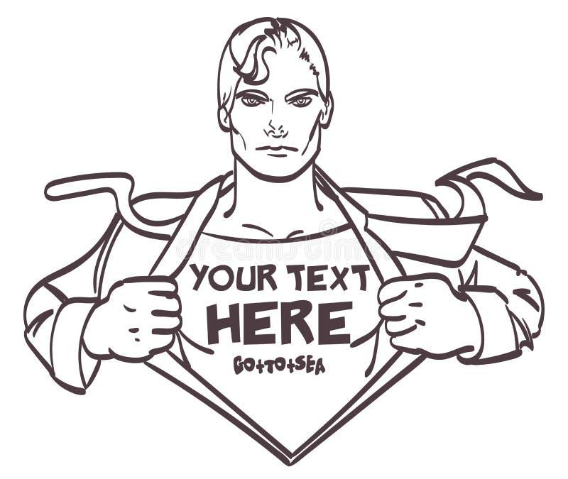 Ejemplo retro masculino del vector del arte pop del hombre de negocios del dibujo agradable del superhéroe con el lugar para la f libre illustration