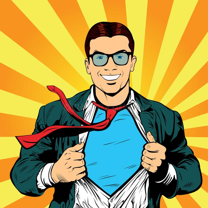 Ejemplo retro masculino del vector del arte pop del hombre de negocios del superhéroe ilustración del vector