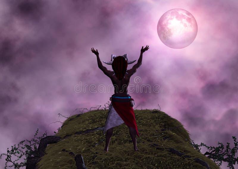 Ejemplo ritual de la luna de Voodoo Black Magic del chamán stock de ilustración