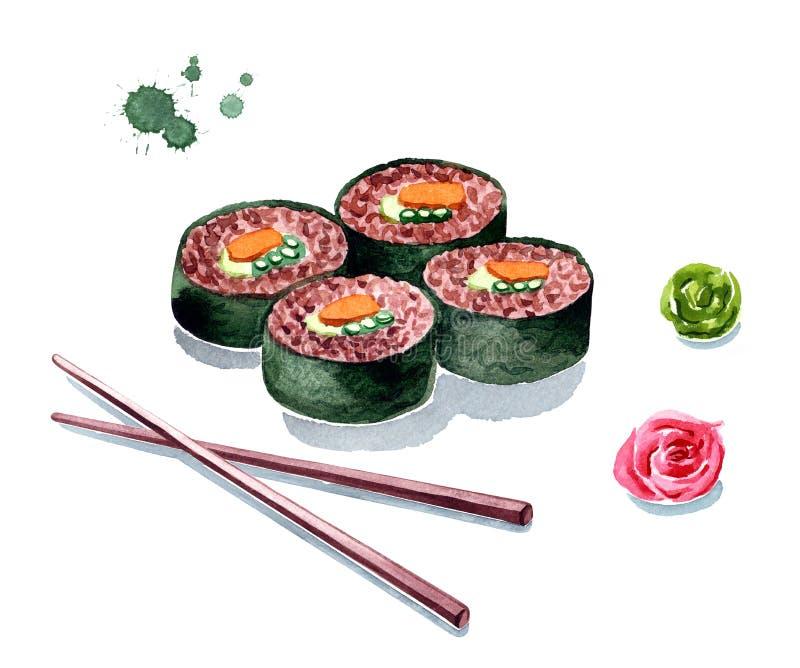 Ejemplo rojo de la acuarela del rollo de sushi del arroz de Brown stock de ilustración