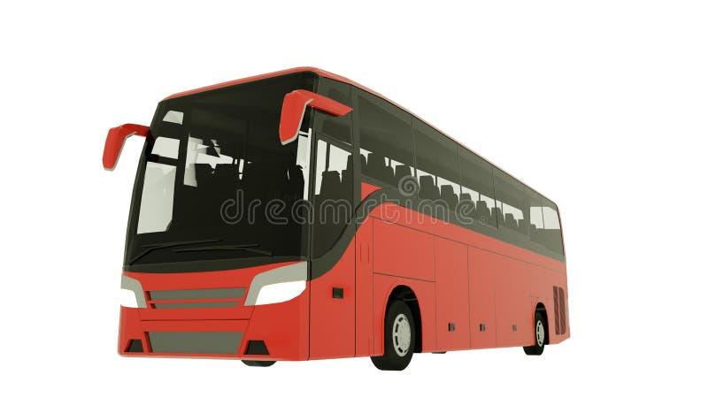Ejemplo rojo de la maqueta 3D del autob?s del viaje ilustración del vector