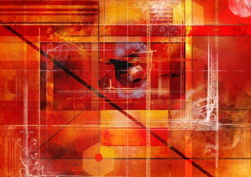 Ejemplo rojo/del amarillo/anaranjado/del negro abstracto generado por el dibujo digital de la mano foto de archivo libre de regalías