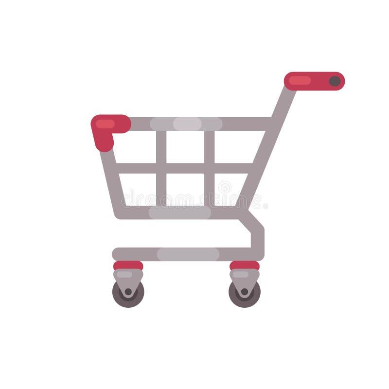Ejemplo rojo del carro de la compra del supermercado Icono plano de la venta stock de ilustración