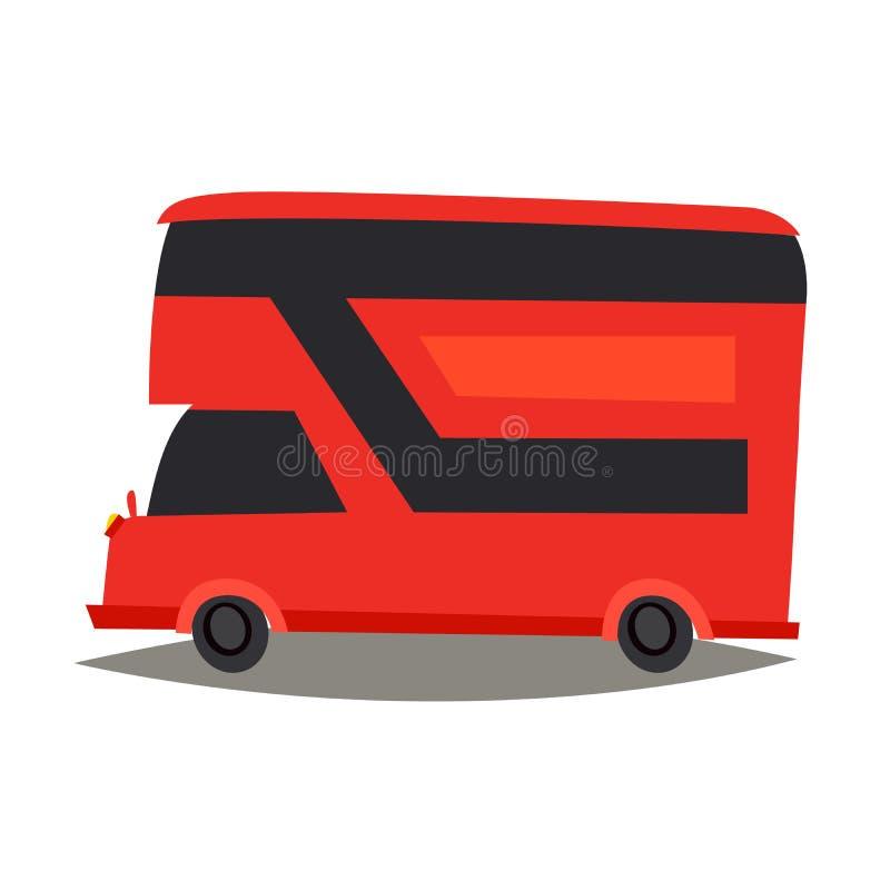 Ejemplo rojo del vector del autobús de Londres Señal de Inglaterra, estilo de la historieta del símbolo de la ciudad de Londres ilustración del vector