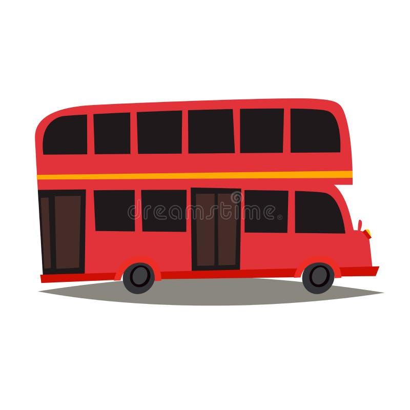 Ejemplo rojo del vector del autobús de Londres Señal de Inglaterra, estilo de la historieta del símbolo de la ciudad de Londres stock de ilustración