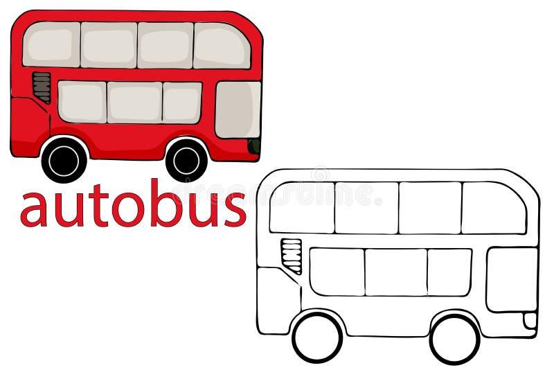 Ejemplo rojo del vector del autob?s de Londres aislado en el fondo blanco ilustración del vector