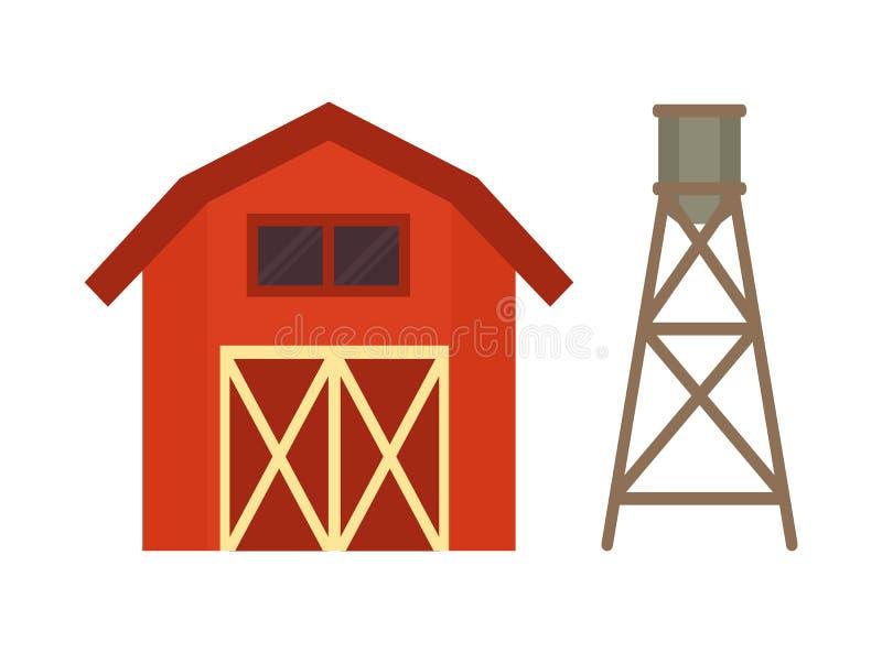 Ejemplo rojo del vector del barril del establo y del agua ilustración del vector