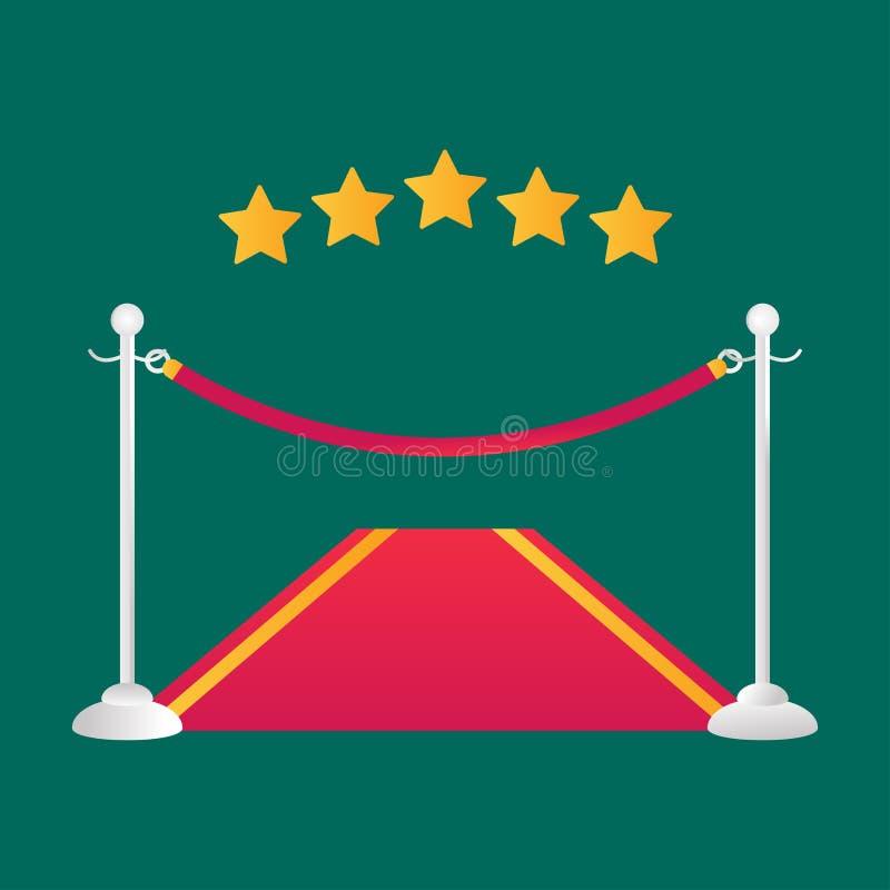 Ejemplo rojo del vector de la alfombra del evento ilustración del vector